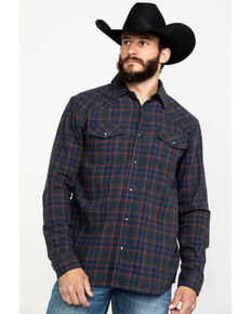 Cody James Men's Mountain Goat Plaid Long Sleeve Western Flannel Shirt , Grey, hi-res