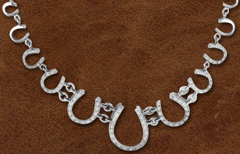 Kelly Herd Sterling Silver Multi Horseshoe Necklace , Silver, hi-res