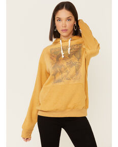 Cowgirl Tuff Women's Mustard Oldest Rodeo Poster Graphic Hooded Sweatshirt , Mustard, hi-res