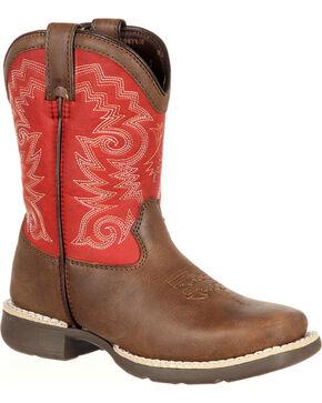Lil' Durango Boys' Stockman Western Boots - Square Toe, Brown, hi-res