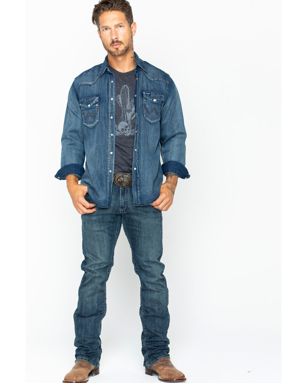 Wrangler Slub Denim Work Shirt, Antique Blue, hi-res
