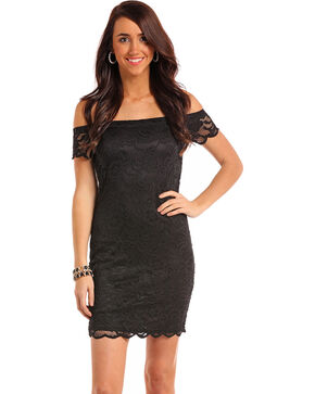 Panhandle Women's Black Lace Cap Sleeve Dress, Black, hi-res