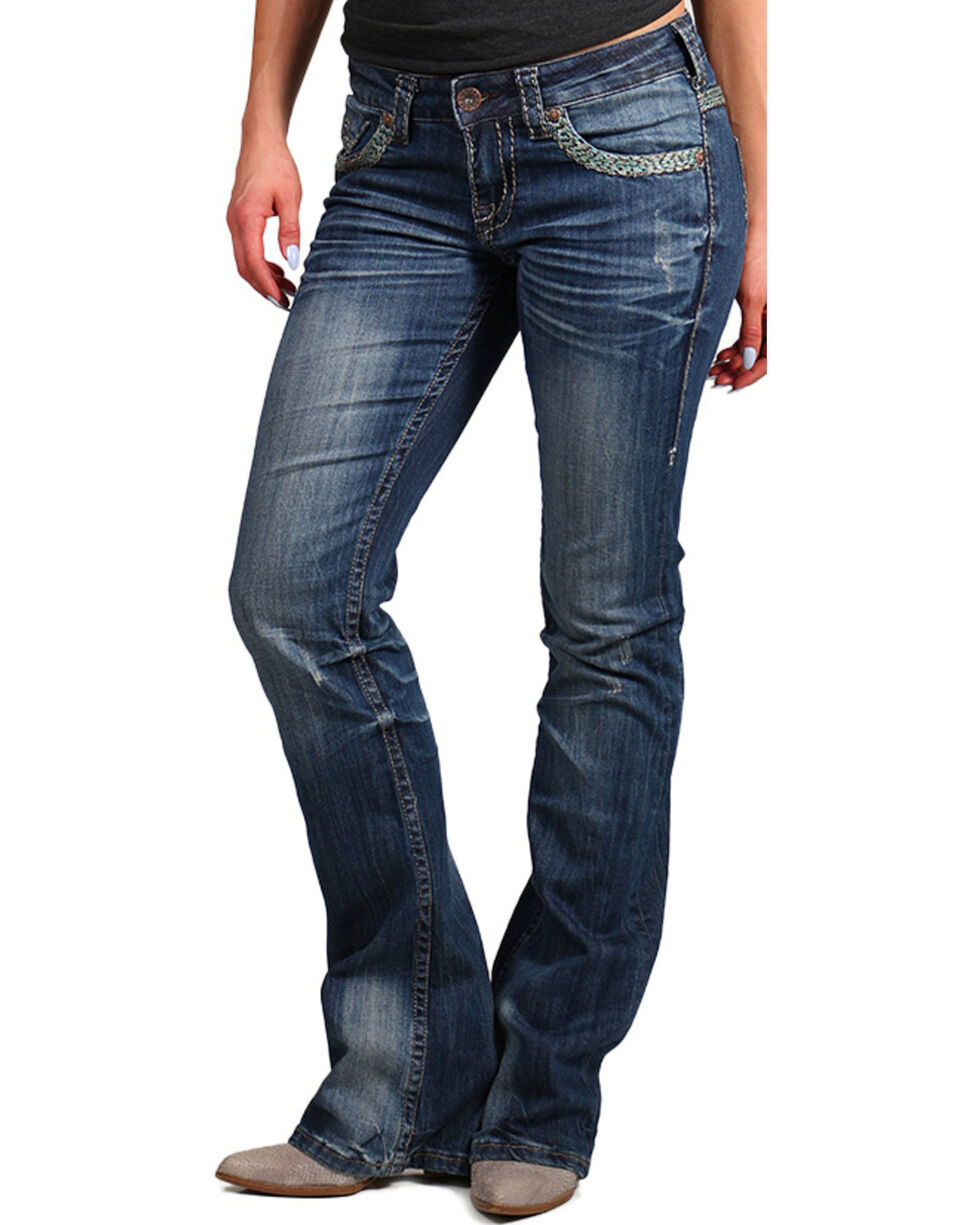 Cowgirl Tuff Women's Trailblazer Boot Cut Jeans, Indigo, hi-res