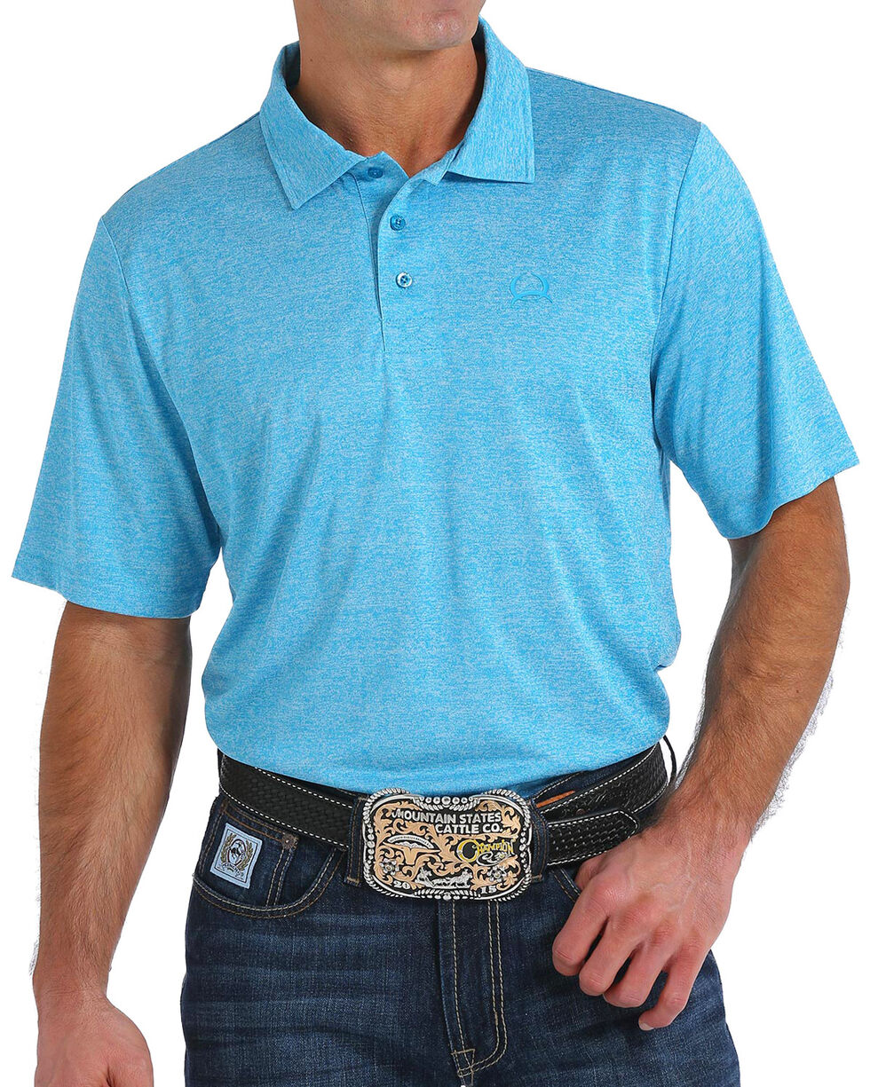 Cinch Men's ArenaFlex Heather Blue Tech Polo, Light Blue, hi-res