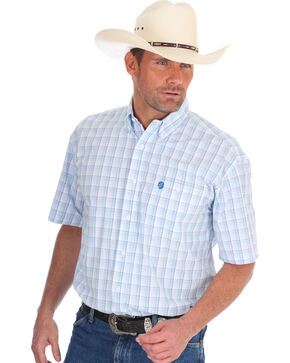 Wrangler George Strait Men's Blue/White Plaid Short Sleeve Shirt, Blue, hi-res
