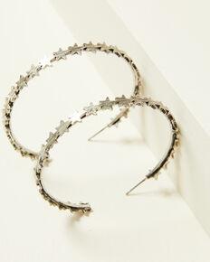 Idyllwind Women's Star Queen Hoop Earrings, Silver, hi-res