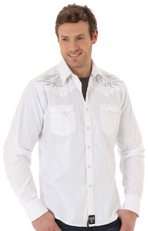 Wrangler Rock 47 Men's White Embroidered Western Shirt , White, hi-res