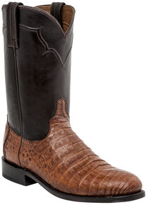 Lucchese Handmade Dustin Belly Caiman Roper Boots - Round Toe , Sienna, hi-res