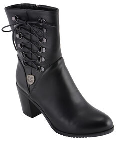 f1384aabd6 Milwaukee Leather Womens Laced Side Riding Boots - Round Toe, Black, hi-res