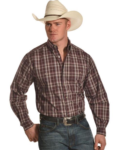 Wrangler Men's Burgundy Rugged Wear Wrinkle Resistant Plaid Shirt , Burgundy, hi-res