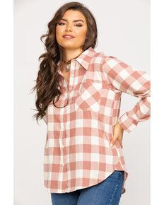 Wrangler Women's Dust Boyfriend Fit Flannel Long Sleeve Shirt, Pink, hi-res