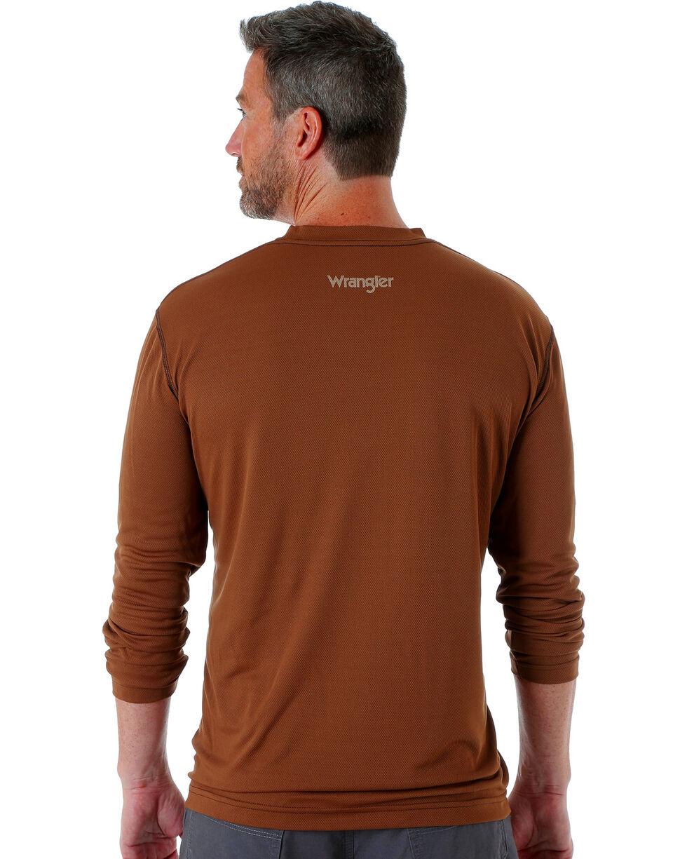 Wrangler Men's Riggs Crew Performance Long Sleeve T-Shirt, Brown, hi-res