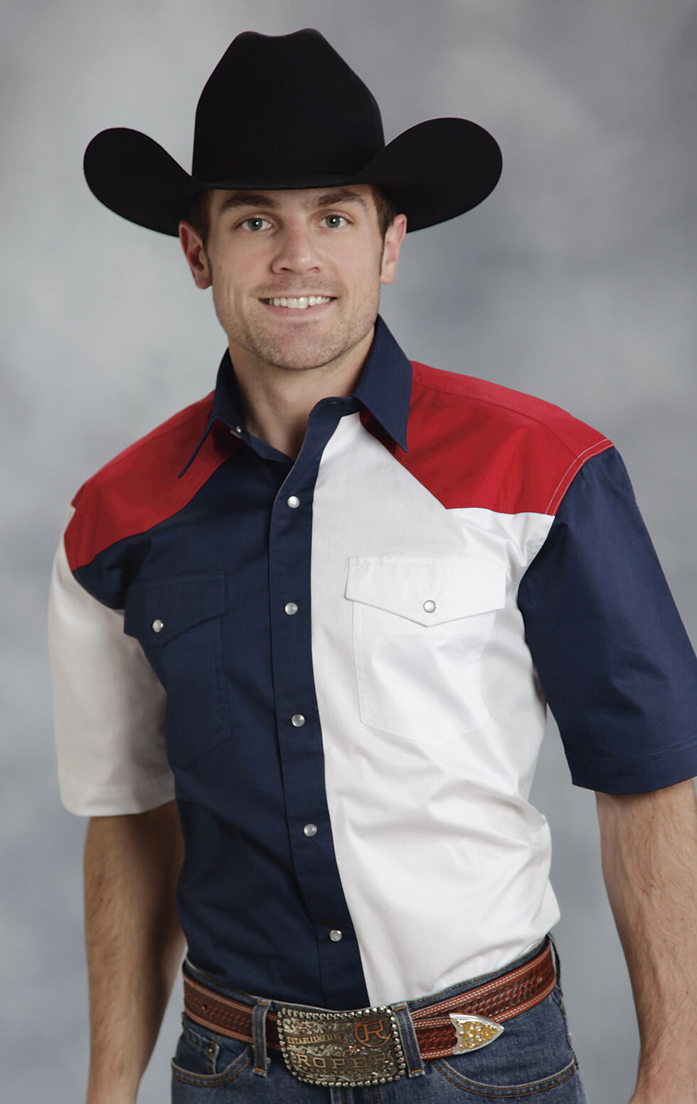 Roper Americana Collection Red, White and Blue Short Sleeve Western Shirt, Patriotic, hi-res