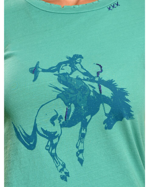 Bohemian Cowgirl Women's Short Sleeve Distressed Cowboy Tee, Teal, hi-res