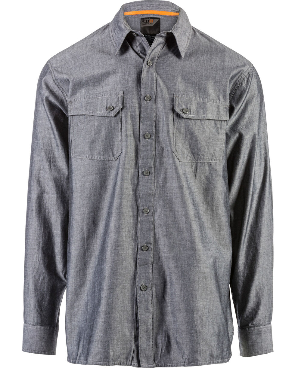 5.11 Tactical Men's Buckshot Chambray Shirt, Charcoal, hi-res