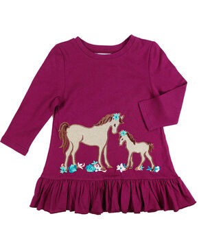 Shyanne Toddler Girls' Horse and Foal Long Sleeve Shirt, Burgundy, hi-res