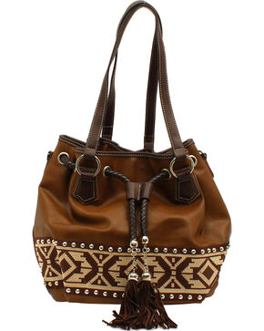 Blazin Roxx Shania Collection Aztec Ribbon Bucket Bag, Brown, hi-res