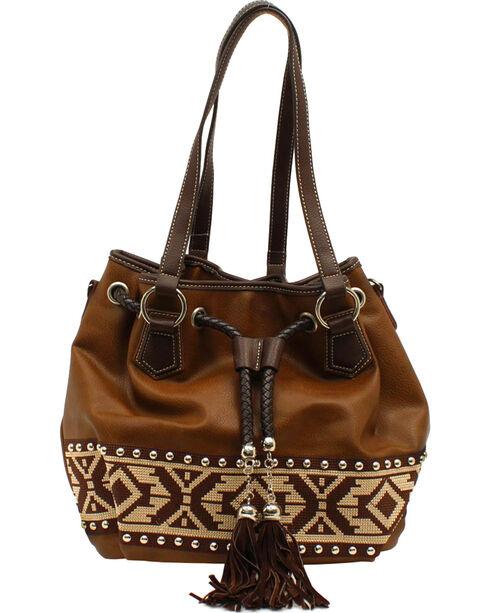 Blazin Roxx Shania Collection Aztec Ribbon Bucket Bag, Brown, hi-res
