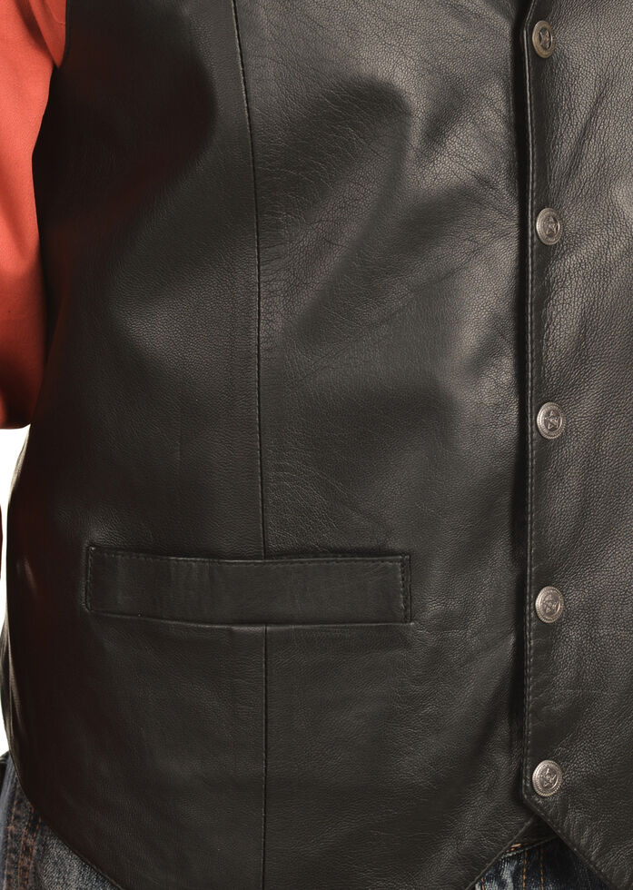 Scully Lambskin Snap Front Vest, Black, hi-res