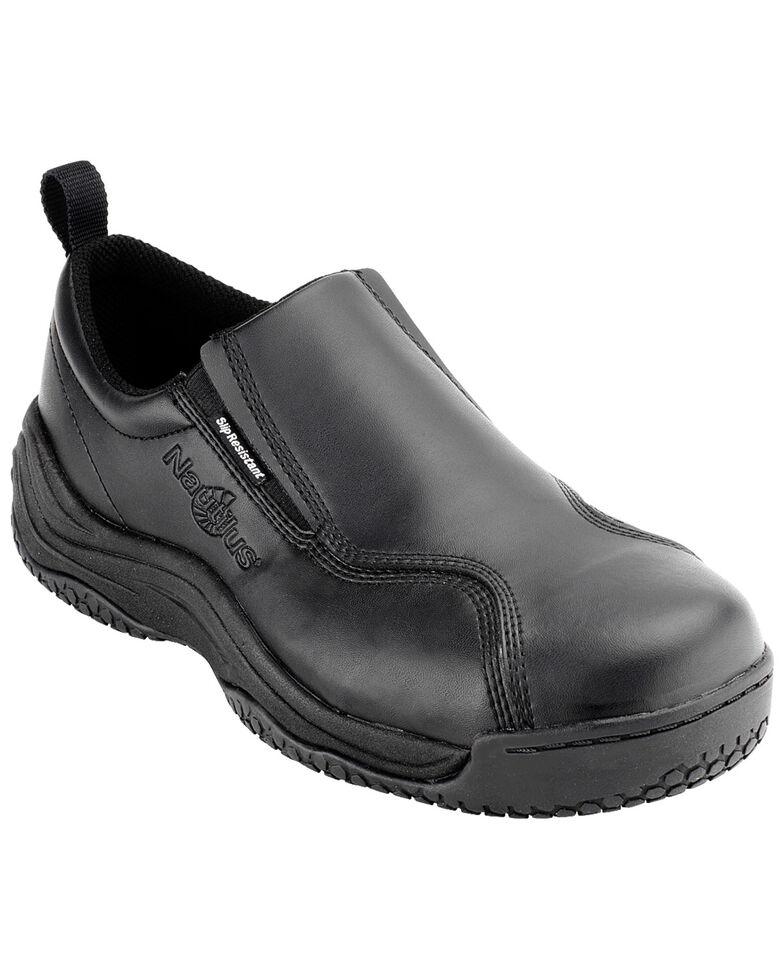 Nautilus Men's Black Ergo Slip-On Work Shoes - Composite Toe , Black, hi-res