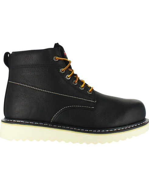 """American Worker Men's 6"""" Lace Up Work Boot - Round Toe, Black, hi-res"""