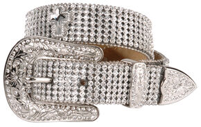Nocona Girls' Rhinestone Cross Buckle Belt - 18-28, Silver, hi-res