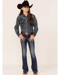 Grace In LA Girls' Dark Wash Sequin Bootcut Jeans, Blue, hi-res