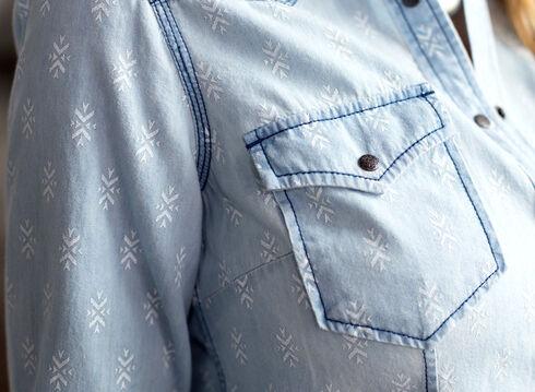 Ryan Michael Women's Geo Print Denim Shirt, Indigo, hi-res