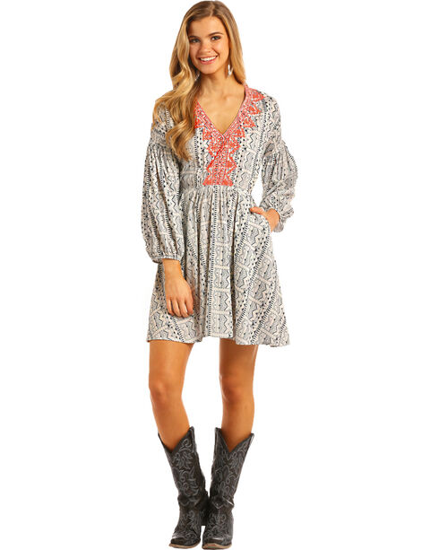 Rock & Roll Cowgirl Women's Navy Aztec Print Dress , Navy, hi-res