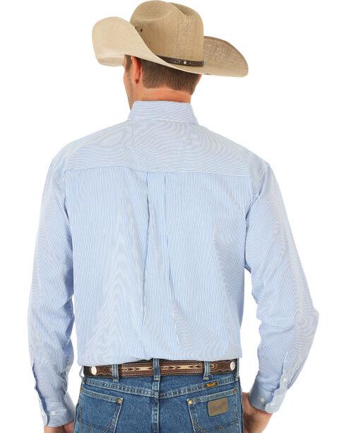 Wrangler George Strait Blue Twill Stripe Western Shirt, Blue, hi-res