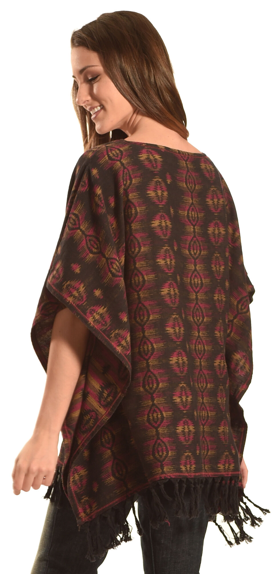 Ryan Michael Women's Sunburst Jacquard Poncho , Multi, hi-res