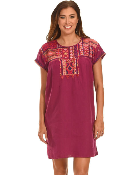 Johnny Was Women's Grape Reid Pleated Peasant Tunic , Grape, hi-res