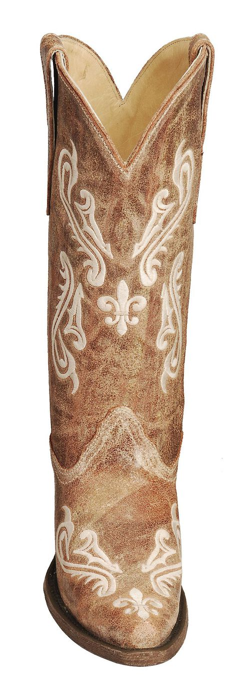 Corral Cortez Distressed Fleur-De-Lis Embroidered Cowgirl Boots - Snip Toe, Tan, hi-res