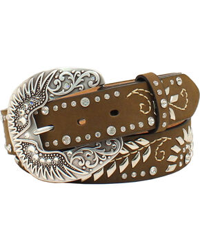 Nocona Women's Floral Rhinestone Wing Buckle Belt, Med Brown, hi-res