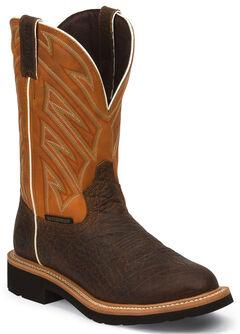 Justin Original Work Boots Dark Chestnut Pull-On Hybred Waterproof Work Boots - Round Toe  , Chestnut, hi-res