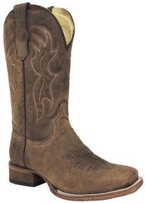 Circle G Men's Brown Basic Boots - Square Toe , Brown, hi-res