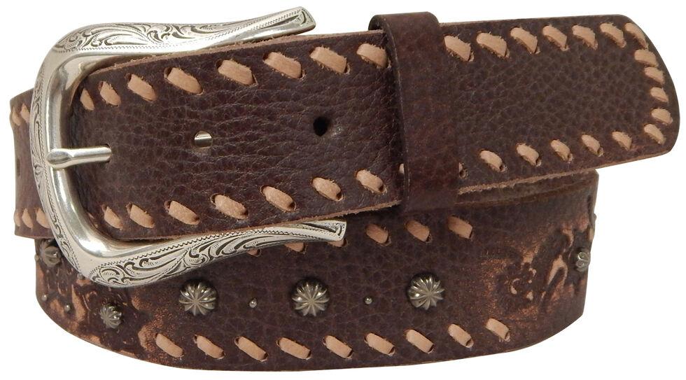 Roper Women's Brown Horseshoe Buckle Leather Belt, Brown, hi-res
