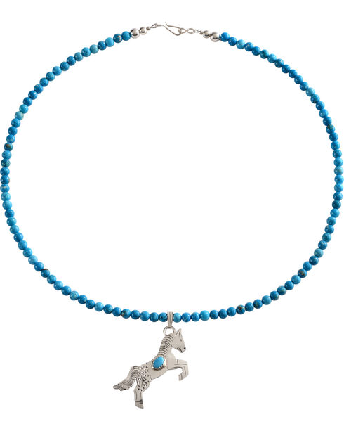 M & S Turquoise Women's Sterling Handmade Horse Charm Necklace, Turquoise, hi-res