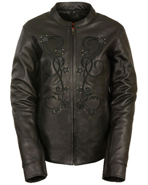 Milwaukee Leather Women's Reflective Star Jacket, Black, hi-res