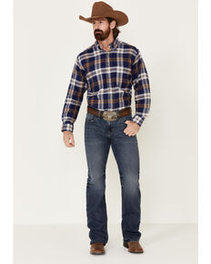 Wrangler Rugged Wear Men's Blue Ridge Long Sleeve Western Flannel Shirt - Big & Tall, Blue, hi-res