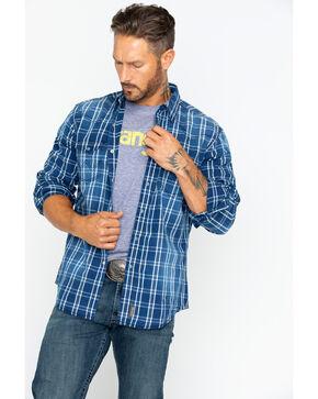 Wrangler Men's Long Sleeve Retro Premium Plaid Shirt , Indigo, hi-res