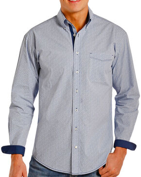 Panhandle Men's Contrast Printed Long Sleeve Shirt, Light/pastel Blue, hi-res