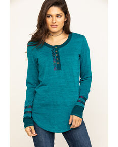 White Label by Panhandle Women's Teal Chevron Henley Top, Teal, hi-res