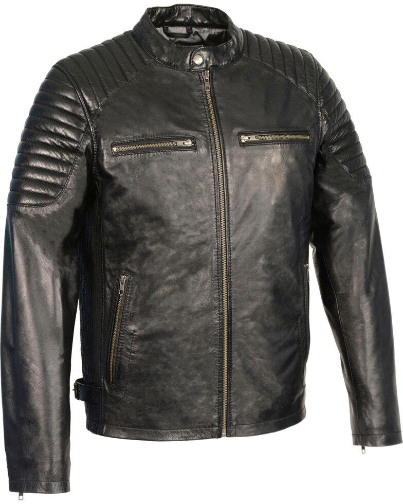 Milwaukee Leather Men S Quilted Shoulders Snap Collar Jacket Black Hi Res