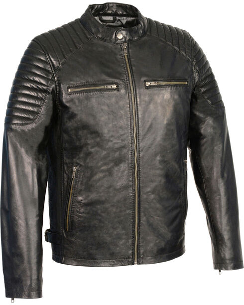Milwaukee Leather Men's Quilted Shoulders Snap Collar Leather Jacket - 3X, , hi-res
