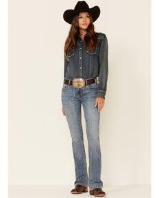Rock & Roll Denim Women's Medium Vintage Wash Midrise Riding Bootcut Jeans, Light Blue, hi-res