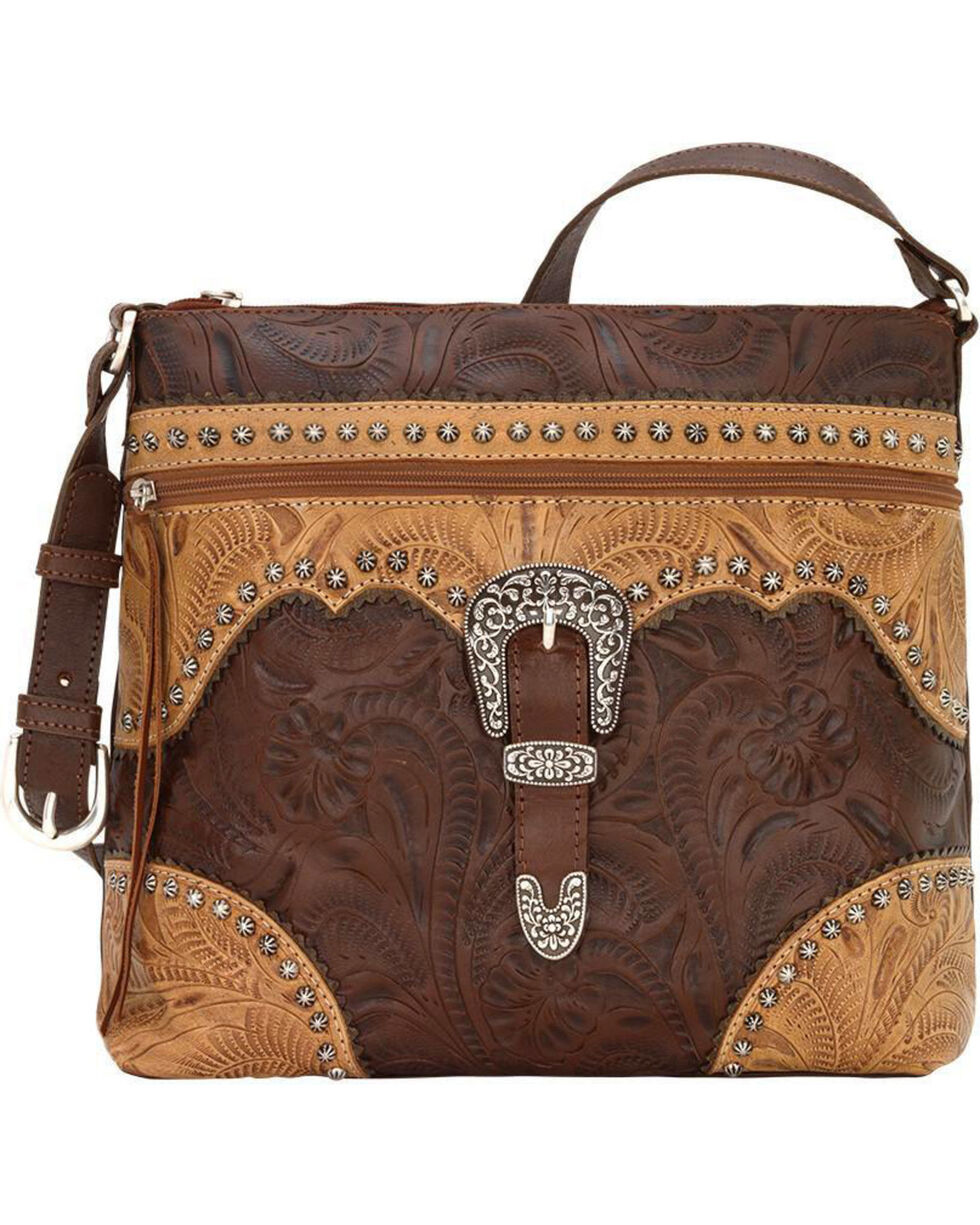 American West Women's Saddle Ridge Zip Top Shoulder Bag , , hi-res