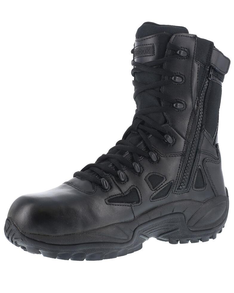 """Reebok Men's Stealth 8"""" Lace-Up Black Side-Zip Work Boots - Composite Toe, Black, hi-res"""