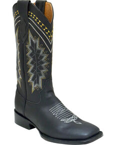Ferrini Men's Navajo Western Boots - Square Toe , Black, hi-res