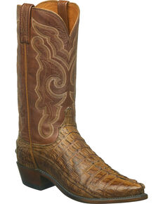 Lucchese Men's Handmade Franklin Hornback Caiman Tail Western Boots - Snip Toe, Tan, hi-res